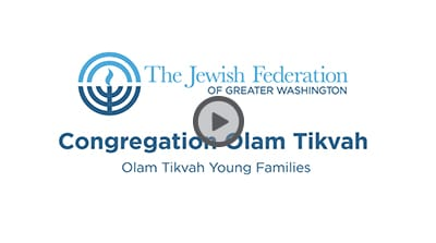 Congregation Olam Tikvah Young Families Pitch Video Thumbnail with Play Button