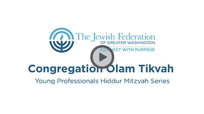 Congregation Olam Tikvah Young Professionals Pitch Video Thumbnail with Play Button