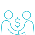 blue logo of people holding hands with dollar sign above