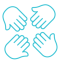 blue icon of hands pointing inward
